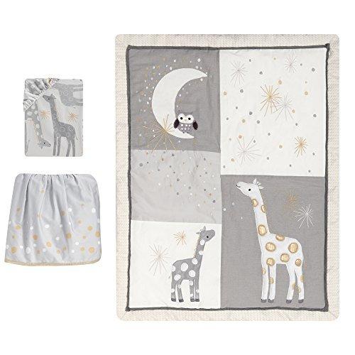Lambs & Ivy Signature Moonbeams Giraffe Stars 3 Piece Crib Bedding Set Gray/Gold [並行輸入品]   B07J6R8FJQ