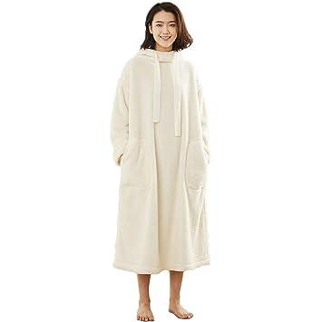 Pijamas Damas Batas De Baño Toallas Albornoces Faldas Ropa De Hogar De Moda Linda Bolsillo Casual Capucha (Color : Blanco, Tamaño : Metro): Amazon.es: Hogar