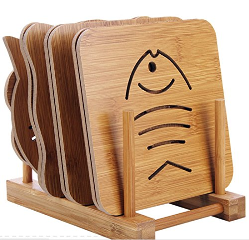 HIGOGOGO Creative Cartoon Pattern Wooden Placemats for Dining Table Stain-resistant Kitchen Placemat Table Mats Modern Design for Kitchen Wooden Set(6' x 6', Set Of 9)