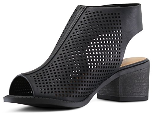 Marco Republic Tuscany Girls Kids Childrens Peep Toe Slingback Laser-Cut Chunky Block Heels Sandals - (Black) - Big Kid 4 by MARCOREPUBLIC (Image #2)