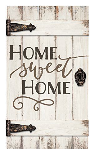 Home Sweet Home White Distressed 18 x 32 Inch Solid Pine Wood Barn Door Wall Plaque Sign