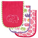 Luvable Friends Safari Themed Baby Burp Cloths, Pink, 3-Count