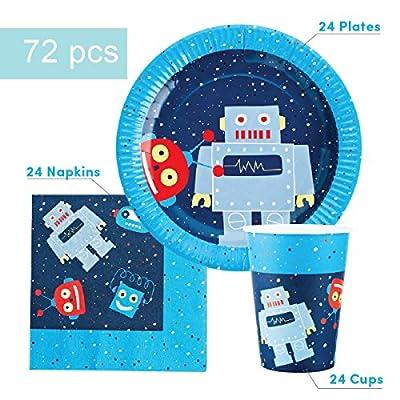 Robot Party Supplies Set for 24 Guests - Includes 72 pcs Total: 24 Cups, 24 Plates, 24 Napkins