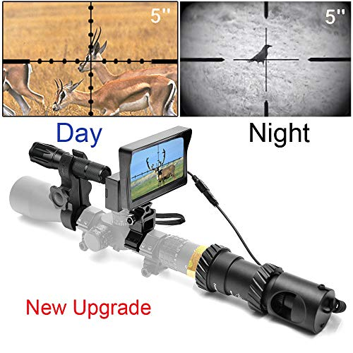 RHYTHMARTS [Upgrade] Digital Night Vision Monoculars for Riflescope with 5inch Screen and IR Flashlight Outdoor Hunting (Best Cheap Night Vision Rifle Scope)