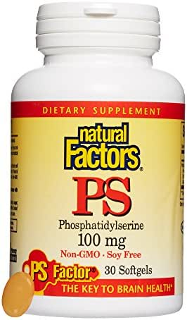 Natural Factors, PhosphatidylSerine (PS) 100 mg, Supports Healthy Brain Function with Non-GMO Sunflower Lecithin, 30 softgels (30 servings)