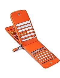 JEEBURYEE Women's Genuine Leather Multi Credit Card Holder Wallet RFID Blocking Long Bifold Clutch Wallet Ladies Purse with Zipper Pocket Orange