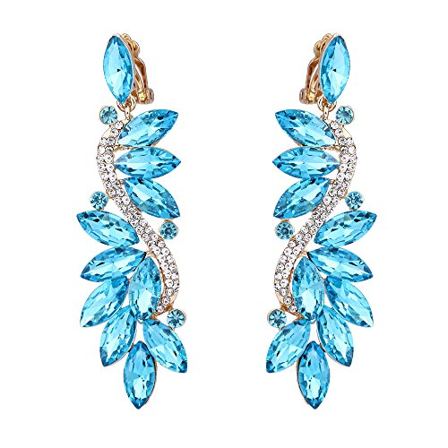 BriLove Gold-Toned Clip-On Dangle Earrings for Women Wedding Bridal Crystal Multi Marquise Filigree Flower Chandelier Earrings Aquamarine Color