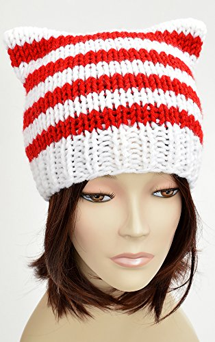 (Candy Cane Hat Lollipop Christmas Hat Knitting Pattern Candy Cat Hat Cat Ears Santa Hat Pattern Christmas Beanie Pattern Festive Beanie Christmas Outfit Knit Hat Xmas Womens Gift Festive Hat Holiday)