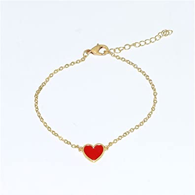 Red heart friendship bracelet Adjustable cotton accessory for women love and friendship gift for her under 15 Alpha