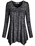 Knit Shirts for Women,Cestyle Autumn Girls Long Sleeve Scoop Neck Pleats Front Flowy Tunic Tops Plain Office Tshirt Blouse Dress Black X-Large