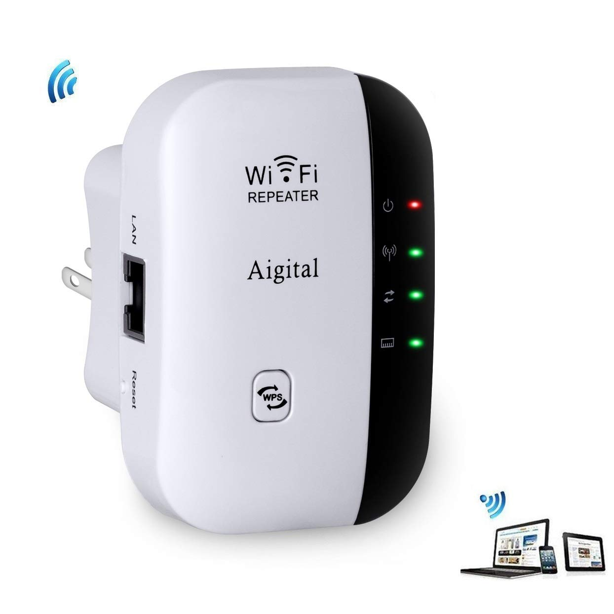 WiFi Extender Upgraded Aigital 300Mbps Wireless Repeater 2.4G Network Signal Booster Expand WiFi Range to Full Coverage, Easy Setup Wi-Fi Blast Adapter with WPS Function