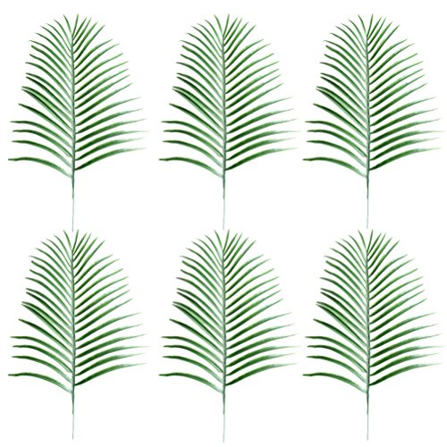 BESTOYARD 6 Pcs Fake Faux Artificial Tropical Palm Leaves for Home Kitchen Party Decorations Handcrafts (Green)