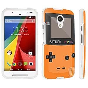 DuroCase ? Motorola Moto G 2nd Gen. 2014 Hard Case White - (Gameboy Orange)