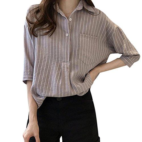 iQKA Women Plus Size Striped 3/4 Sleeve Cotton Shirt Casual Loose Button Top Blouse(Gray,XX-Large)