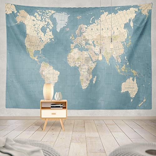 Summor Tapestry Vintage World Map Color Blue Sea Asia Grid Green Earth Africa Art Nature Home Decorations for Living Room Bedroom Dorm Decor in 80