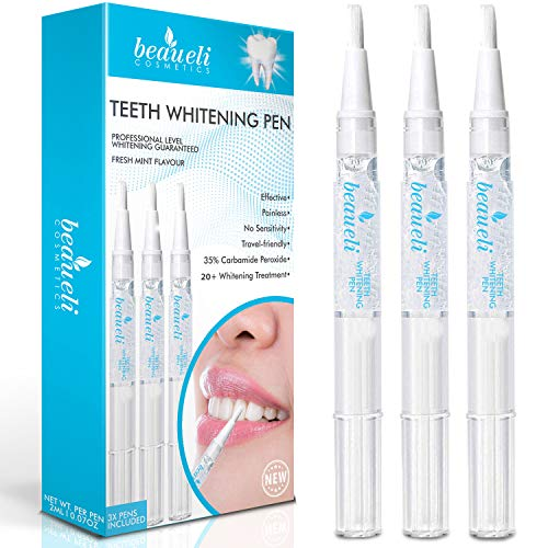 Beaueli Teeth Whitening Pen (3 Pack) Safe 35% Carbamide Peroxide Gel for Sensitive Teeth Easy to Use Effective Painless No Sensitivity Advance Natural Teeth Whitening for Beautiful Smile