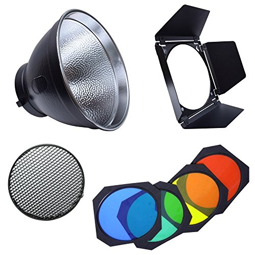 Fotoconic 7' Standard Reflector Bowens Mount with Umbrella Hole and BD-04 Barndoor with Honeycomb Grid & Color Filter Gel Set