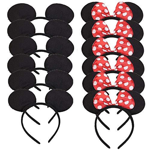 Mickey Minnie Headband 12 Pcs Mouse  Ears for Boy Girl Birthday Party Celebration, Black Red Bow]()