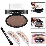 Makeup for Brown Eyes Wisdompark Professional Eyes Makeup Brow Stamp Seal Eyebrow Powder Waterproof Grey Brown Eye Brow Powder with Eyebrow Stencils Brush Tools (dark brown)