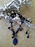 Genuine Lapis Lasuli Floral ''One of a Kind'' Necklace Set