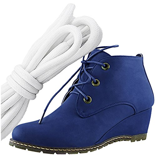 DailyShoes Womens Fashion Lace Up Round Toe Ankle High Oxford Wedge Bootie, White Black Blue Pu
