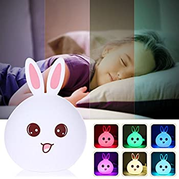 Baby Night Light,Joseche Silicone LED Night Light Lamp,USB Rechargeable Sensitive Tap Control Bedroom Light with Warm White,Single Color and 7-Color,Easter Gift for Bedside Baby Nursery Lamp(Pink)