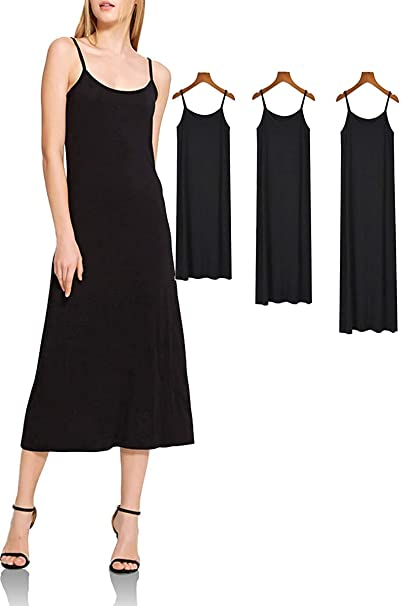 XUJI Womens Plus Size Soft Modal Full Slip, O Neck Slip Basic Cami ...