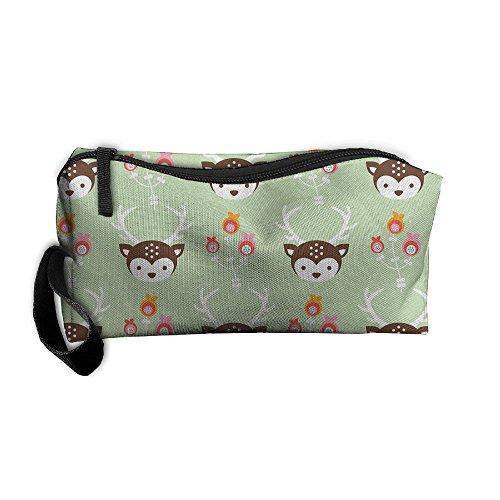 Oh Christmas Weave - Oh Deer! Pastel Green 3D Printing Zipper Closure Cosmetic Makeup Bag Pencil Pen Case Travel Bag Tote For Women Girls