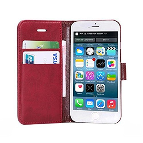 iPhone 6 Hülle,Apple iPhone 6 Hülle (4.7 Zoll) Lifetrut®[FM Rote] Flip Case mit lebenslanger Garantie + Kartenfächern & Standfunktion