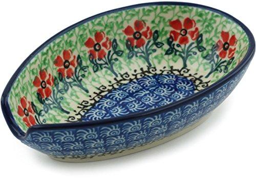 Polish Pottery Spoon Rest 5-inch made by Ceramika Artystyczna (Maraschino Theme) (Artystyczna Polish Stoneware Ceramika)