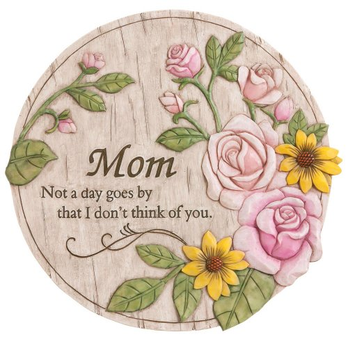 "Evergreen Garden Not a Day Goes By Mom Polystone Memorial Stepping Stone - 12""W x 0.5""D x 12""H by Evergreen Garden"