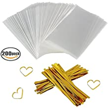"Clear Treat Bags 200 PCS (4"" by 6"") Cellophane Bag Party Favor Bags with 200PCS Twist Ties for Wedding Gift Cookie Candy"