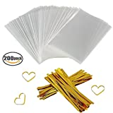 """Arts & Crafts : Clear Treat Bags 200 PCS (4"""" by 6"""") Cellophane Bag Party Favor Bags with 200PCS Twist Ties for Wedding Gift Cookie Candy"""