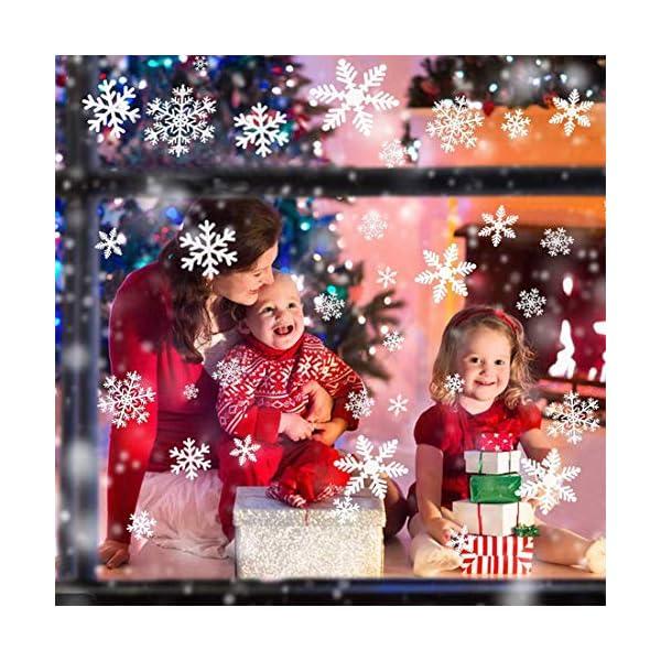 Adesivo Fiocco di Neve per finestre, 108 Natale Vetrofanie Rimovibile Adesivi Murali Finestra Decorazione Fiocco di Neve Decorazioni Natalizie Fai da Te Sticker Decorativi da Finestra 3 spesavip