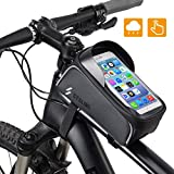 KANFF Bike Front Frame Phone Bag Waterproof Cycling Phone Mount Bag, Bicycle Handlebar Storage Pack with Touch Screen & Sun Visor