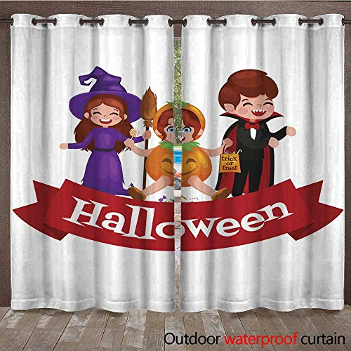 (RenteriaDecor Outdoor Curtain for Patio Happy Halloween Set of Cute Cartoon Children in Colorful Halloween Costumes W84 x)