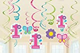 Amscan Sweet Birthday Girl 1st Birthday Value Pack Foil Swirl Decorations, Medium, Pink/Blue/Purple/Green