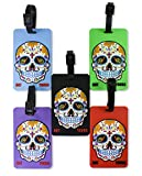 5 Pack OLIVELAND 3D Soft Luggage Tags Sugar Skull Not Yours 5 Colors (5-3d-skull)