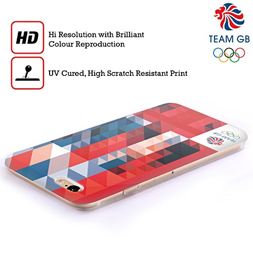 Official Team GB British Olympic Association White Square Geometric Union Jack Soft Gel Case for Apple iPhone 4 / 4S
