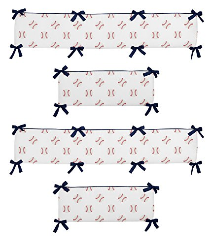 (Sweet Jojo Designs Red, White and Blue Baby Crib Bumper Pad for Baseball Patch Sports Collection)