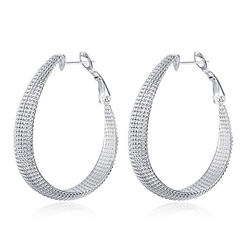 Costume Ghetto Kids (SDLM Vintage Costume Jewelry Large Oval Wide Hoop Earrings for Womens)