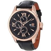 S COIFMAN Complete Calendar GMT Black Dial Men's Black Leather Watch