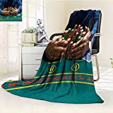 Fleece Blanket 300 GSM Poker Player Taking Poker Chips After Winning Anti-Static Double-Sides Reversible Super Soft Warm Fuzzy Bed Blanket(60''x 50'')