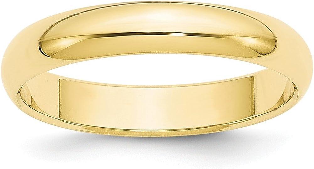 10K Yellow Gold 4mm Half Round Band Ring