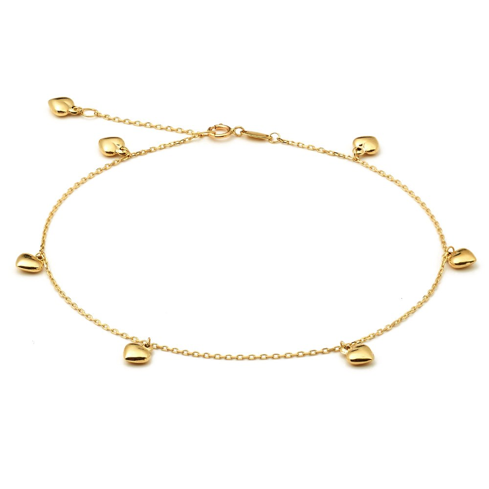 LoveBling 10K Yellow Gold .50mm Diamond Cut Rolo Chain with 7 Puff Heart pendants Anklet Adjustable 9'' to 10'' (#6)