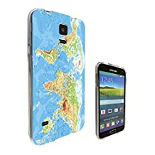 002289 - Blue Water World Map Atlas Design Samsung Galaxy S5 / Galaxy S5 Neo Fashion Trend CASE Gel Rubber Silicone All Edges Protection Case Cover