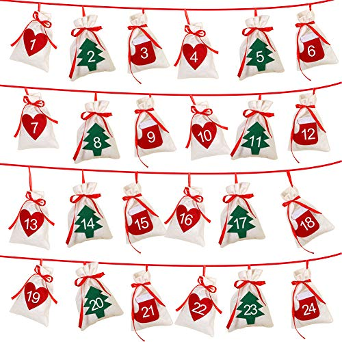 AerWo Felt Christmas Countdown Advent Calendars 2019, 24 Days Countdown Advent Calendar Garland Gift Bags for Holiday Party Christmas Decorations