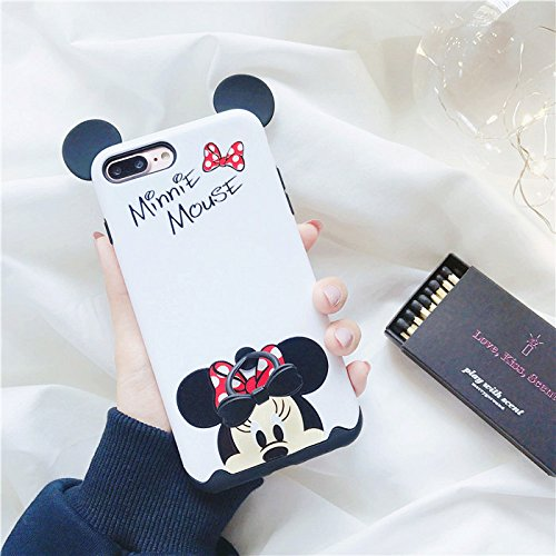 Review Dual-Layer Black White Minnie Mouse Bow Tie Finger Ring Holder Case for iPhone 7Plus 8Plus 7+ 8+ Large Size Shockproof Thick Protective Shockproof 3D Disney Cartoon Cute Lovely Hot Girls Teens Kids