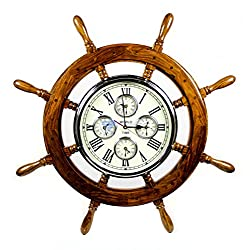 48 Premium Mahogany Crafted Large Nautical Ship's Wheel Times World Clock | Nautical Home Decor & Gifts | Nagina International (48 Inches, Rosewood)