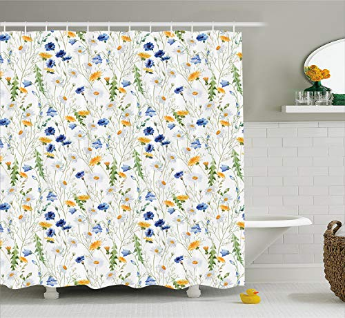 Ambesonne Floral Shower Curtain Roses Decor by, Poppies and Daisies Floral Printing Wild Flowers Watercolor Painting, Polyester Fabric Bathroom Set with Hooks, Yellow White